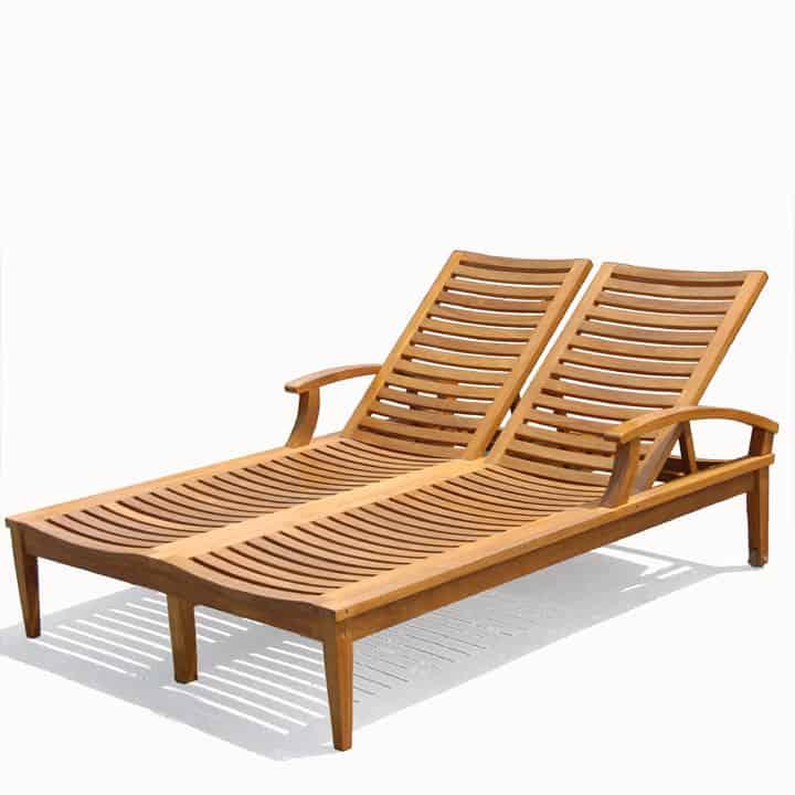 Double Teak Outdoor Sun Chaise Lounger Bali Teak Patio