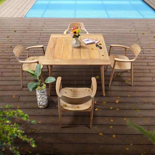Mid century modern teak outdoor dining for 4
