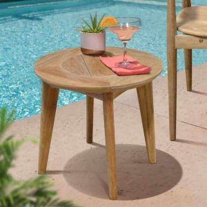 Mid Century Teak Outdoor Round Side Table – Impression