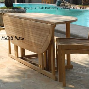Oval teak folding outdoor dining table