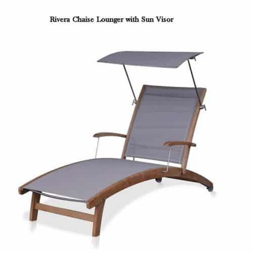 Teak sling chaise lounge