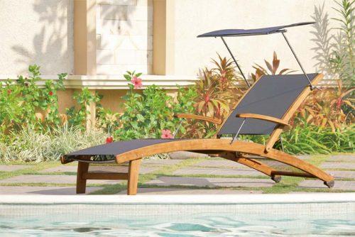 Teak sling chaise lounger