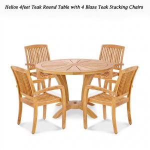 5 Pc Teak Garden Dining Set – Helios Round Table 4 Blaze Chairs