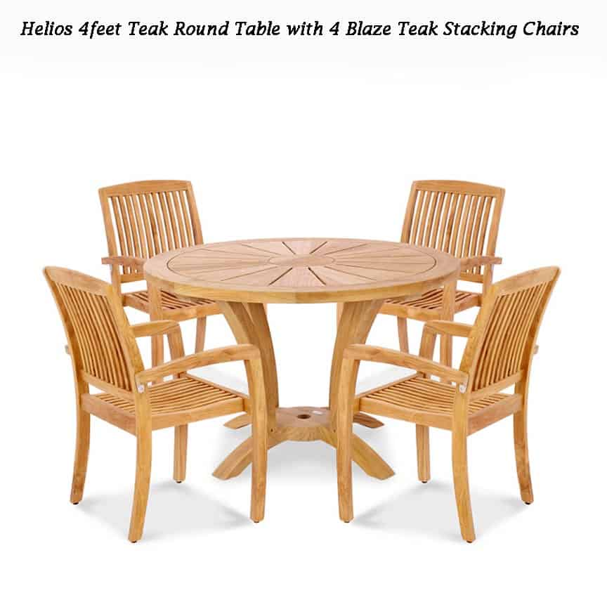 Superb 5 Pc Teak Garden Dining Set Helios Round Table 4 Blaze Chairs Interior Design Ideas Inesswwsoteloinfo