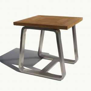 Teak Stainless steel Teak Outdoor Side Table – Regnatt