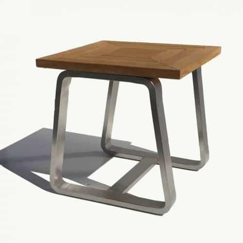 Stainless steel teak outdoor side table Rialto