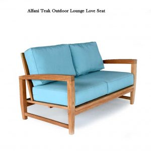 Modern Teak Outdoor Deep Seating Two Seated Loveseat Alfani