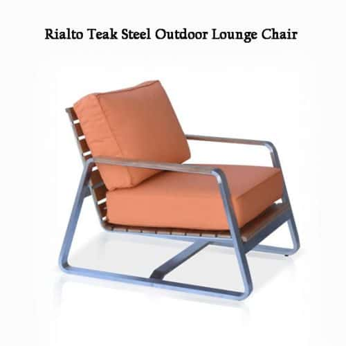 Teak steel deep seating outdoor chair