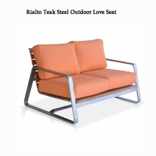 Teak steel deep seating outdoor loveseat-