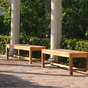 5 feet Teak Outdoor Patio Backless Waiting Bench – Wave