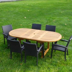 7 Pc Teak Patio Dining Table Set – Agean Oval Table with Tuscany Stacking Chair