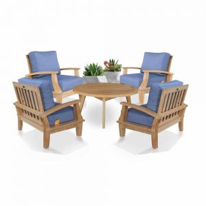 5 Pc Teak Deep Seating Conversation Set – Bali with Rohm
