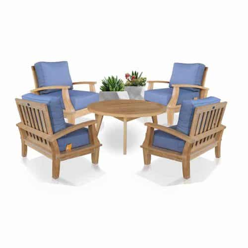 Bali Teak deep seating chair and round coffee table