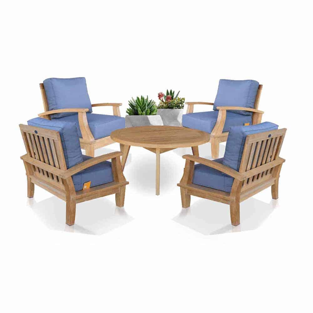 Balinese Teak Coffee Table: 5 Pc Teak Deep Seating Conversation Set