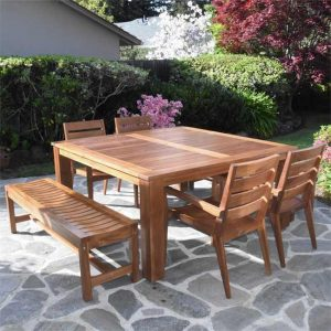 65 inch Teak Outdoor Square Farm Table- Cornwal