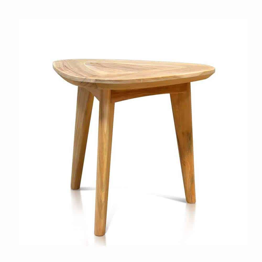Mid Century Teak Outdoor Triangle End Table Impression Teak Patio Furniture Teak Outdoor Furniture Teak Garden Furniture