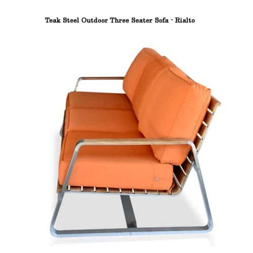 Teak steel deep seating sofa