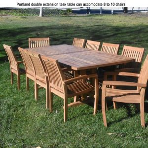 9 Pc Teak Outdoor Patio Dining set