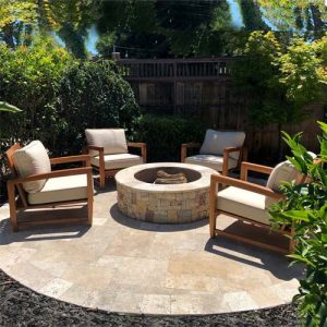 Teak Outdoor Conversation set of 4 Teak deep seating patio chairs