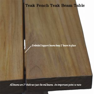 118 inches Recycle Teak Rectangular – French Beam Table – Rustic Natural Finish