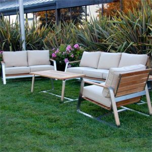 Teak Steel Outdoor Deep Seating Lounge Sofa Set – Regnatt
