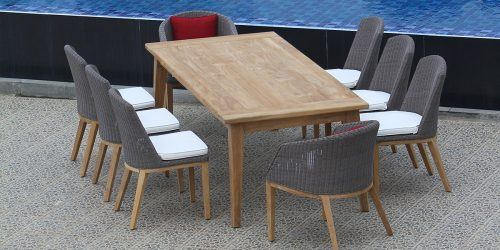 Teak Wicker Dining Set for 8