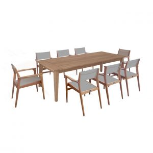 9pc Mid-Century Teak Table Set -Piedra Table and Danish Chairs
