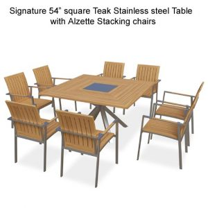 9 Pc Stainless Steel Teak Square Table dining set – Signature and Alzette