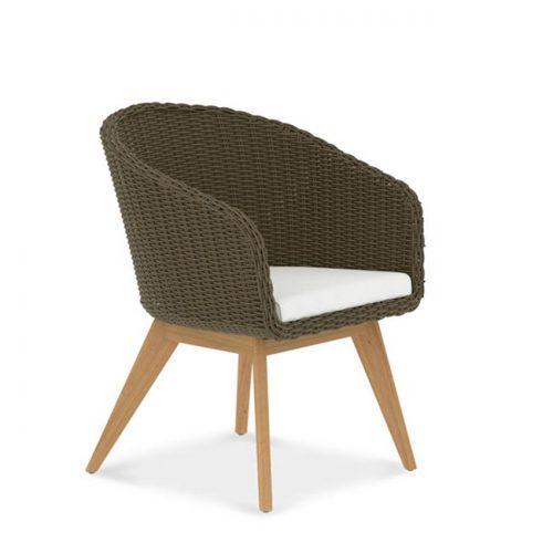Wicker teak patio chair