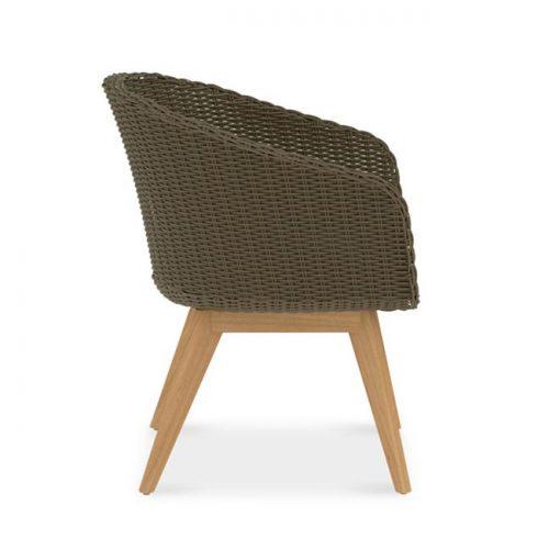 Mid century modern teak wicker chair