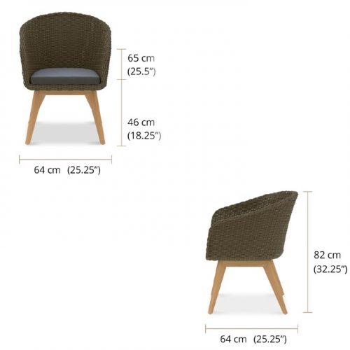 Mid century teak wicker chair