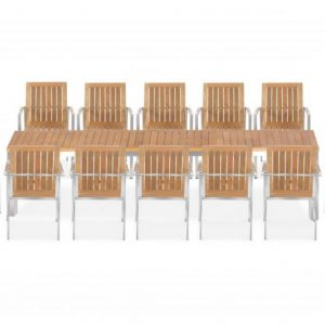 11 Pc Stainless Steel Teak Dining Extension Table – Signature & Alzetta Chairs