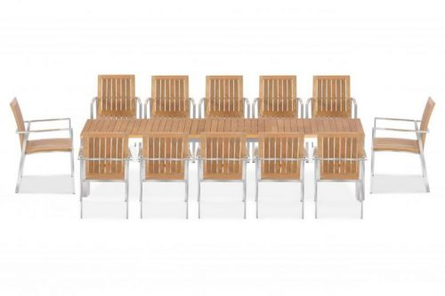 Teak steel extension table Signature and alzette stacking chairs