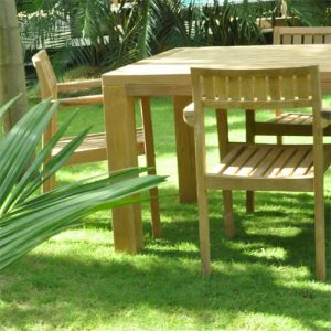 5pc Teak Patio square Farm Table Set- Cornwal and Pari