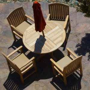 5 pc Teak Patio Round Dining Table Set – Tigris & Zaire