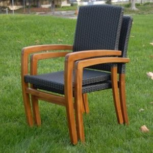 Teak Wicker Patio Stacking Dining Chair – Blaze