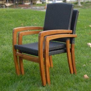 Teak Wicker Patio Stacking Dining Chair – Blaze