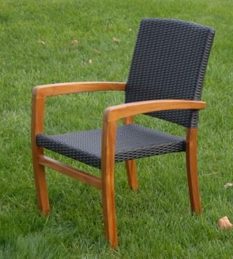 Teak-wicker stacking chair