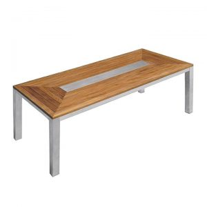 Teak Steel Outdoor Rectangular Dining Table – Signature