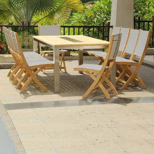 Inspire teak steel rectangle outdoor table