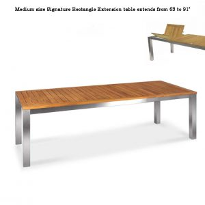 91 inch Teak-Steel Outdoor Front slide Extension Rectangular Table – Signature