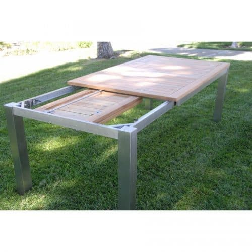 rectangle steel teak extension outdoor table