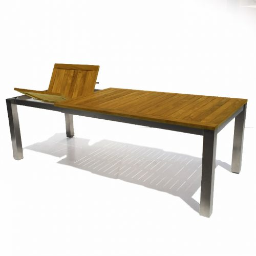 Rectangle steel teak outdoor table
