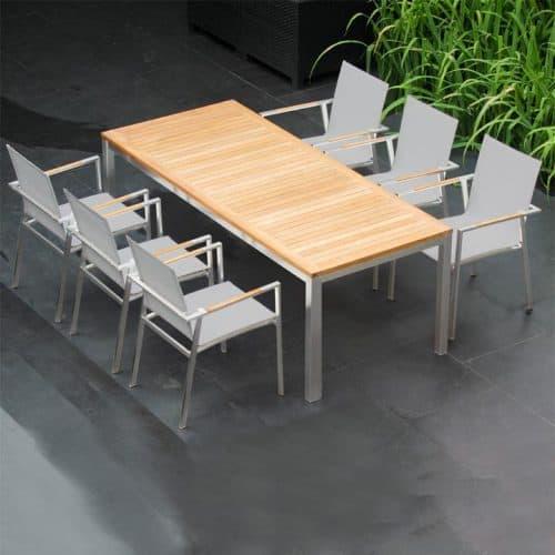 Teak steel outdoor extension table